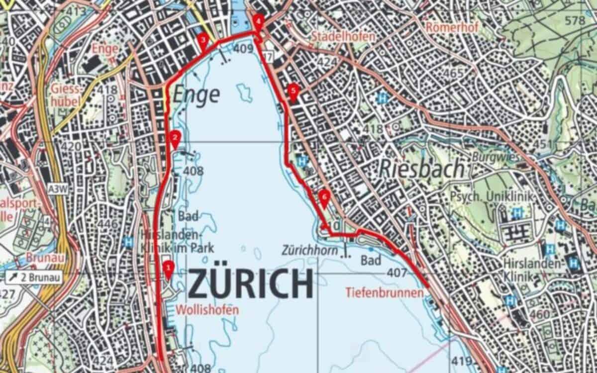 Karte Zürich Wollishofen - Tiefenbrunnen